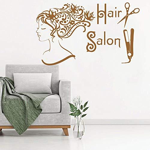 tssalon Haar Spa Mode Mädchen Frau Gesicht Haarschnitt Schere Decals Vinyl Wandaufkleber Dekor Kunstwand 26 * 42 cm ()