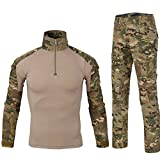 Lanbaosi Chemise de Combat Militaire Homme Uniforme Tactique Séchage rapide à Manches Longues & Pantalon Costume Tenues de Combat Pantalon Militaire Paintball MC x-small