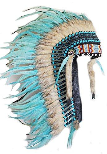 KARMABCN Y34 - Penacho Sombrero Mediano de Indio de Color Turquesa (36 Pulgadas de Largo).