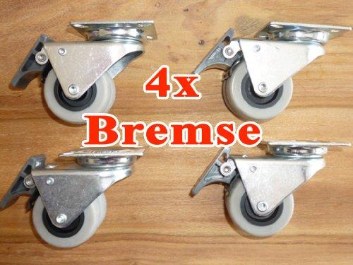 4x Strandkorbrollen bis 100kg/ pro Doppelrolle jeweils mit Bremse Rasen geeignet von XINRO®
