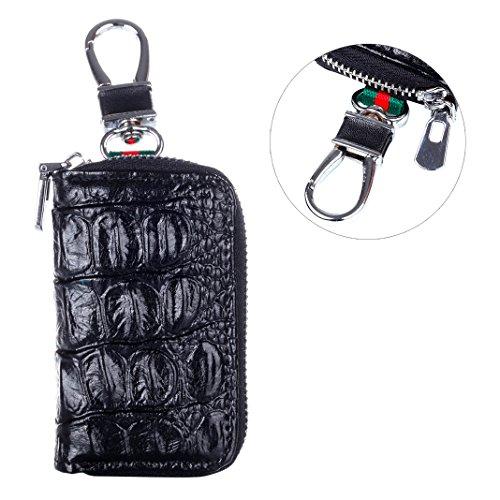 Zipper Schlüsselbeutel Leder, Asnlove Unisex Damen und Herren Schlüsseletui Ledertasche Etui Mit Schlüsselring Kette, Schwarz