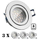 3er IP44 LED Einbaustrahler Set Chrom mit LED GU10 Markenstrahler von LEDANDO - 5W - warmweiss - 60° Abstrahlwinkel - Feuchtraum / Badezimmer - 50W Ersatz - A+ - LED Spot 5 Watt - Einbauleuchte rund