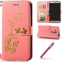Huawei Nova Plus Coque Leather,Huawei Nova Plus Case Flip,Hpory élégant Vintage Bronzing Papillon Motif With Lanyard Strap PU Cuir Case BookStyle Folio Support PU Leather Wallet Case with Magnetic Closure and Stand Function and Credit Card Holder Multifonction de Shell en Soft Silicone Bumber Protector Étui Anti Poussière Resistance Anti-rayures et Shockproof Couverture Etui Coquille pour Huawei Nova Plus + 1 x Hpory Stylus-(Rose)