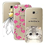 CE-Link [3 Packs] Samsung Galaxy A5 2017 Hülle Silikon Schutzhülle Transparent Handyhülle Ultra Slim Dünn Protective Case Crystal Clear Cover Anti-Scratch Backcover TPU Muster Silicone Bumper mit Zurück Mädchen + Flamingo + Katze