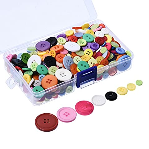 Outus 500 Pieces Buttons Resin Button Round Craft Buttons with Plastic Storage Box, 2 and 4 Holes, Assorted Colors and Sizes