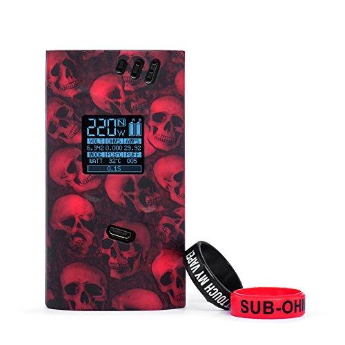 Funda de Silicona para Smok Alien 220W Kit Mangas de Protección Antideslizante con 2 Piezas de Anillo de Silicona (Skull Red)