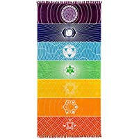 Surenow Manta Toalla de Playa Tapiz Mandala Mantel de Picnic Esterilla de Yoga Estilo Bohemio con Borlas Grande Redonda 150x150 cm
