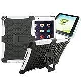 Wigento Hybrid Outdoor Schutzhülle Cover Schwarz/Weiß für iPad Air 2 (Nicht Air 1) Tasche Case + 0.4 mm H9 Tempered Panzerglas Folie