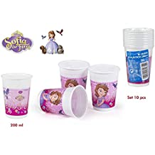 PACK 10 VASOS 200 ML PRINCESA SOFIA