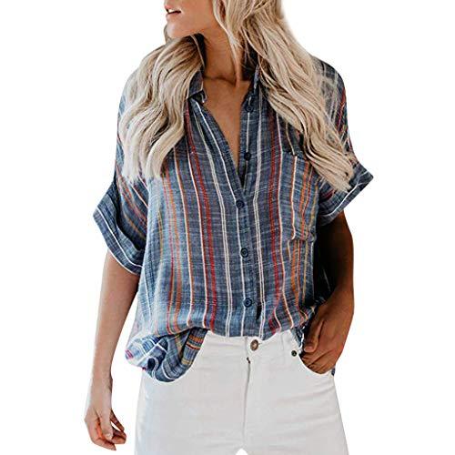VJGOAL Bluse Damen Elegant Sommer Große Größen Kurzarm Frauen Freizeit Streifen V-Ausschnitt Lose Knopf T Shirt (Womens Jumpsuit Style 70s)