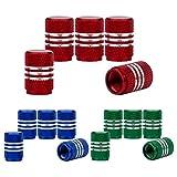 SENZEAL 15pcs Capuchons De Poussière De Voiture Argent Autour De Roue En Aluminium Pneu Valve Caps Mixte Couleur Rouge Bleu Vert