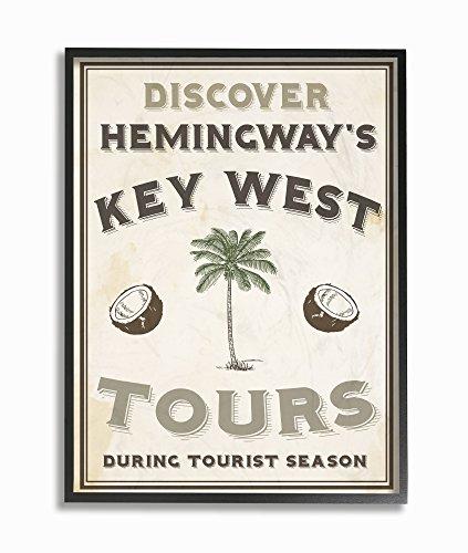 Stupell Industries Hemingway 's Key West Tours, Giclée Texturized Art, Holz, Mehrfarbig, 27.94X 3,81x 35,56cm (Leinwand Fr)
