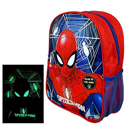 Marvel Avengers Spiderman Kindergarten Rucksack nachtleuchtend - 32x27x10cm - Kinderrucksack für Jungs und Mädchen