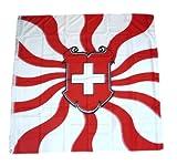 Fahne / Flagge Schweiz Wappen Schild Flammen 120 x 120 cm