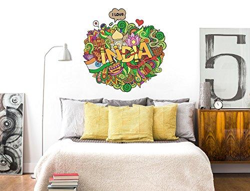 I-love-Wandtattoo WAS-12130 Wohnzimmer Wandtattoo Indien ''Buntes Bild mit India Schriftzug'' Design Motiv zum Kleben Form Wandaufkleber Bhudda Religion Buddhismus Hinduismus Graffiti farbenfroh kunterbunt Schlafzimmer Aufkleber XXL