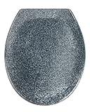WENKO 18902100 Premium WC-Sitz Ottana Granit - Absenkautomatik, rostfreie Fix-Clip Hygiene Edelstahlbefestigung, antibakteriell, Kunststoff - Duroplast, 37.6 x 45.2 cm, Grau