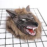 SJZC Maske Halloween Cosplay Wolfskopf Masken Silikon Erwachsene Prop Kind Spielzeug,Brown