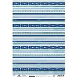 Artoz Paper AG - Kreativpapier selbstklebend Kommunion/Konfirmation Streifen-Symbole blau