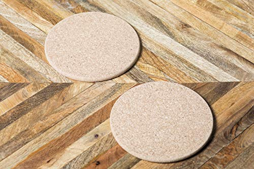 Kavi Set of 2 Round Shape Cork Hot Plates, Coasters, Trivets, Coasters Set, Cup Mats, Drink Wine Mats, Cork Mats, Tea Pad, Placemats, Decor Office , Tableware, Barware , Kitchen Accessories (Light Brown)