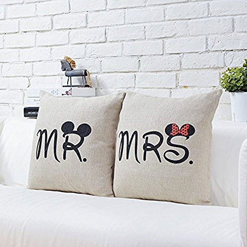 Image of niceEshop(TM) Mickey Mouse Linen Throw Pillow Cover Home Solid Sofa Pillow Cover (#2,Pillow Inner Not Included)