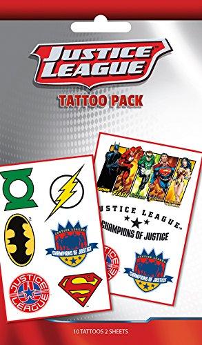 GB Eye DC Comics Justice League Mix temporäre Tattoo Pack, Mehrfarbig