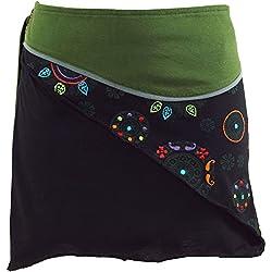 GURU-SHOP, Mini Falda Boho Chic, Wrap Skirt, Falda Mujer, Cacheur, Olive, Algodón, Tamaño:40, Faldas Cortas