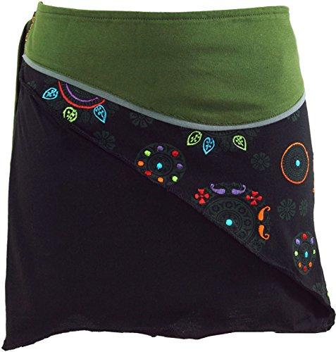 Guru-Shop Minirock Boho Chic, Wickelrock, Damen Rock, Cacheur, Olive, Baumwolle, Size:40, Kurze Röcke Alternative Bekleidung