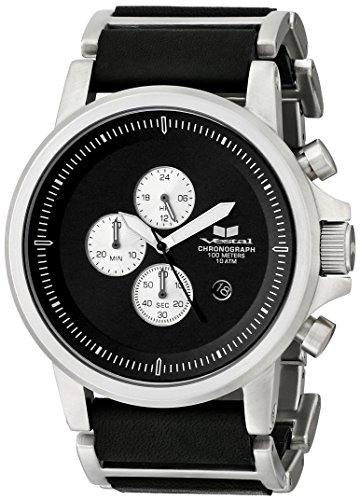 Vestal Uomo PLE036 Plexi Silver with Black Pelle Orologio