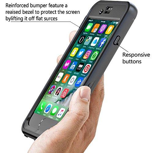 iPhone 7 Etanche Coque, Très Mince Protecteur Imperméable IP68 360 Degré Full Body Housse de Protection Case Étanche aux Chocs Finger Tough Achevée Fonction Etui pour iPhone 7 (Bleu ciel) Noir