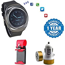 Drumstone S600 Wearable SmartWatch With Dual Usb Car Charger & Universal Car Steering Wheel Mobile Phone Socket Holder Compatible with Xiaomi, Lenovo, Apple, Samsung, Sony, Oppo, Gionee, Vivo Smartphones (1 Year Warranty)