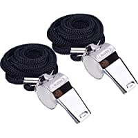 Metal Referee Whistles Coach Whistles with Lanyard for Football Coaches and Officials, 2 Pieces