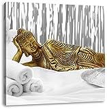 goldener Buddha auf Handtuch B&W Detail, Format: 70x70 auf Leinwand, XXL riesige Bilder fertig gerahmt mit Keilrahmen, Kunstdruck auf Wandbild mit Rahmen, günstiger als Gemälde oder Ölbild, kein Poster oder Plakat