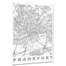"""artboxONE Poster 90x60 cm Städte Städte / Frankfurt Kartografie """"Frankfurt, Deutschland"""" schwarzweiß hochwertiger Design Kunstdruck - Bild Städte Städte / Frankfurt Kartografie von Hubert Roguski"""