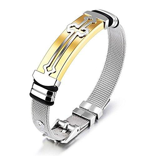 Fygrend - Punk-Kreuz-Armband für Männer Edelstahl-Armband für Männer Schmuck Charm-Armband-Stulpe-Armband ()