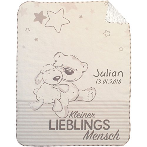 Wolimbo DUO Lammfell Optik Babydecke mit Namen bestickt Motiv Knuddelbär Ballons