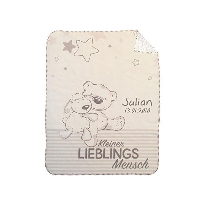 Wolimbo DUO Lammfell Optik Babydecke mit Namen bestickt Motiv Bär auf Leiter