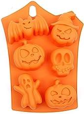 Rocita 6 Löcher Halloween Kürbisform Weiches Silikon DIY Cupcake Schokolade Gelee Backform Eiswürfelform Orange
