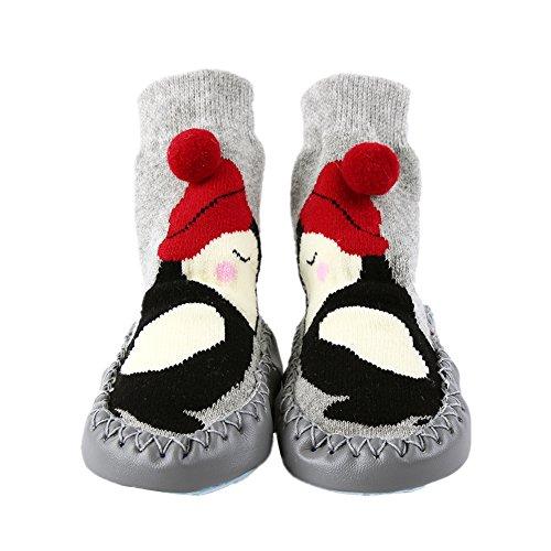 Kinder Socken Hüttenschuh Baby Anti Rutsch Boden Söckchen Niedlich Socke Kindersocken Mädchen und Junge Warm Sock Grau S Herren Geboren Schuhe