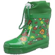 Playshoes Unisex Kids Lined Wellies Rain Animals Wellington Rubber Boots, Green Gruen 29, 7 UK Child