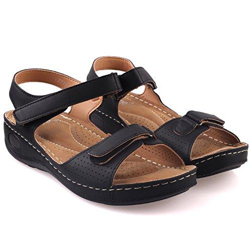 Unze Womens ' nuty ' sandali comodi Walking Nero