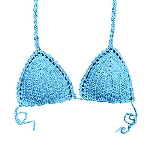 Stricken Bikini,Resplend Damen Eingewickelte Brust Sexy Wild Split Badeanzug Top Übergröße Drucken Tankini Strandkleidung Gepolstert Badebekleidung