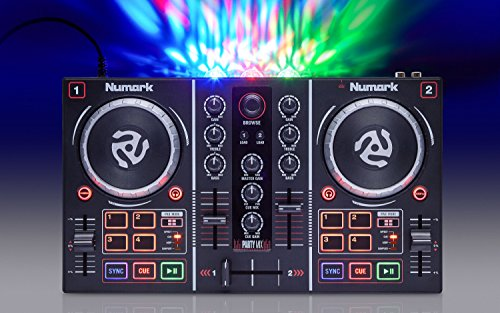 Numark Party Mix Starter DJ Controller with Built-In Sound Card, Light Show and Virtual DJ LE Software Download