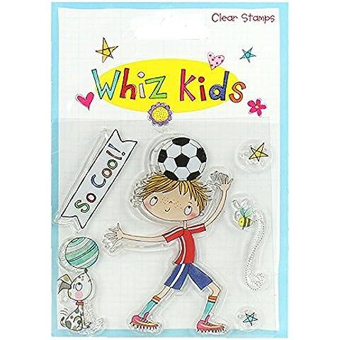 Whiz calciatore timbri trasparenti per bambini, in