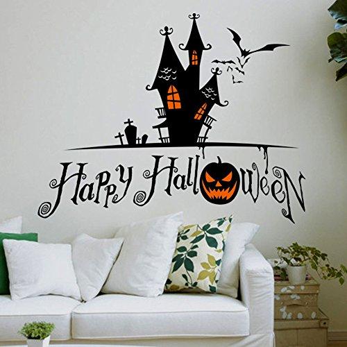 Colorfulworld® Halloween Party Kürbis Wandaufkleber Schloss Wandtattoo Dekoration Wasserdichte Fenster Aufkleber Wanddekoration - Schloss Halloween-party