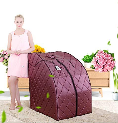 HZX Faltbares Leder-Weites Infrarot-Turmalin-Trockenschweiß-Sauna-Dampfgarer-Zelt-Tragbare Haushaltsschweiß-Box, die Fetten Gewichtsverlust und Körper-Badekurortbehandlung 1100W Brennt, braun, a