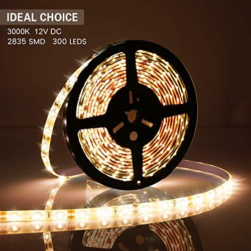 AMBOTHER LED Streifen 5m Warmweiß, 300LEDs IP67 LED Strip 12V Lichtleiste Lichtband Lichtschlauch Stimmungslicht für Zimmer Weihnachten Party Deko Küche Garten 3000k Warmweiß