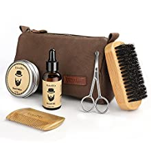 Beard Trimming Kit, 6 Mustache Care Set for Men Care | Beard Oil | Mustache Beard Balm Wax | Beard Brush | Beard Comb | Barber Scissors | Friendly Box Best Set for Mens Beard for Styling Growth Set