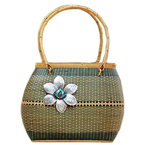 handgemachter stickerei stricken / weben bambus rattan stroh handtasche / umhängetasche (Natürlichen Tote Stroh)