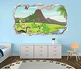 3D Wandtattoo Kinderzimmer Dino Vulkan Cartoon Wand Aufkleber Durchbruch Stein selbstklebend Wandbild Wandsticker 11N377, Wandbild Größe F:ca. 140cmx82cm