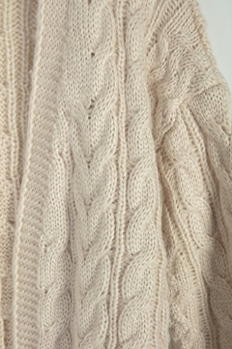 Vogueearth Fashion Femme's Longue Manche Twist Knit Sweater Chandail Tricots Longue Open Cardigan Beige